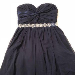 navy blue flowly dress